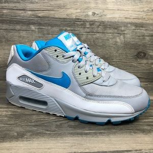 Nike Air Max 90 Wolf Gray Dynamic Blue Sneakers